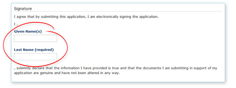 How do I sign my online application?