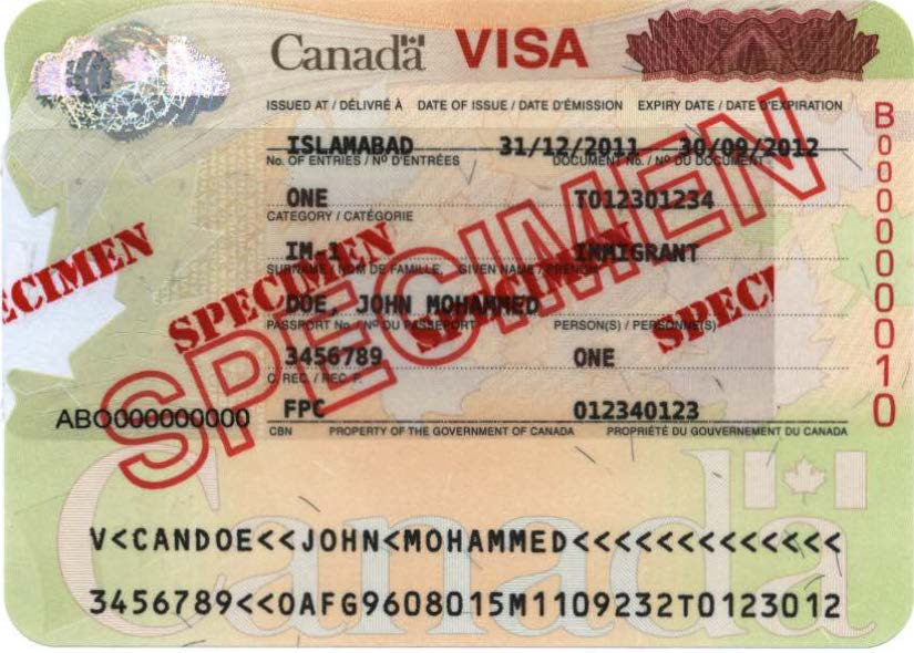 Image of a visitor visa