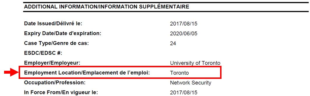 "Sample work permit with employment location under ""Additional information"" indicated with red arrow and box"