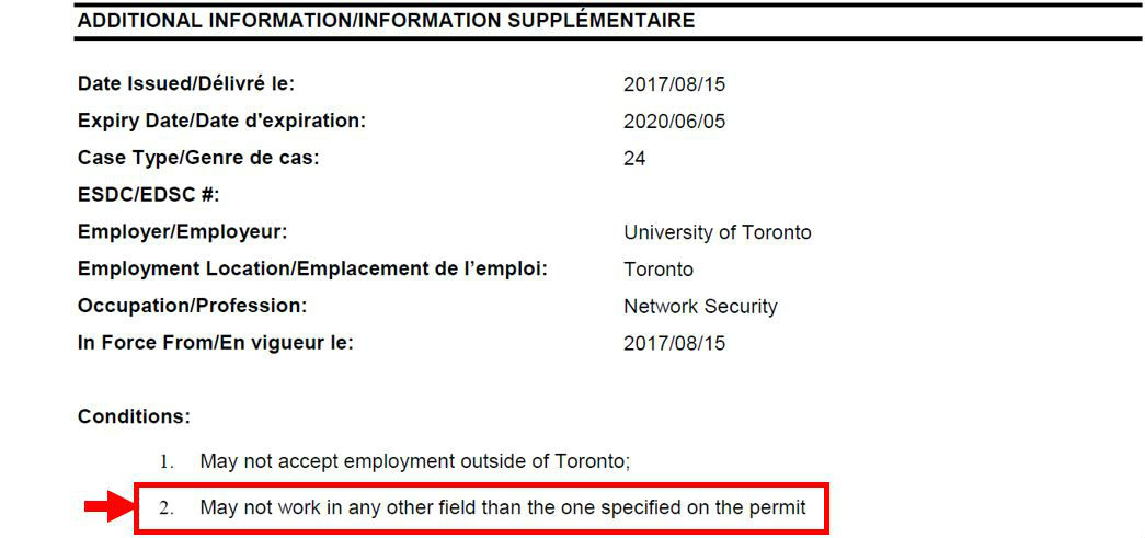 Sample work permit with occupation indicated with a red arrow and box.