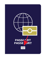 Image of an electronic passport cover that shows the electronic passport symbol at the bottom